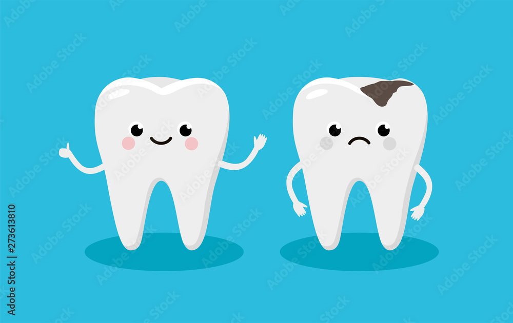 Fototapeta Happy Healthy Tooth and Moody Tooth with cavity Cartoon characters in flat design. Dental Infographic elements concept vector illustration in flat design.