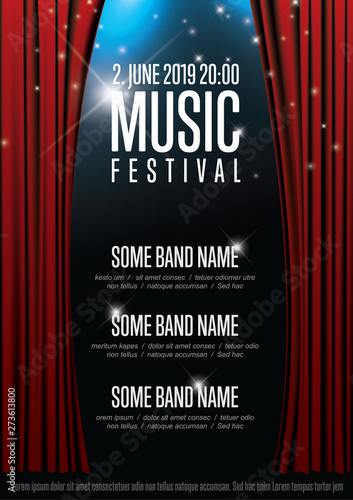 Fotografia  Vector music festival poster template with theatre stage illustration