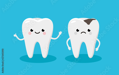 Fotografija Happy Healthy Tooth and Moody Tooth with cavity Cartoon characters in flat design