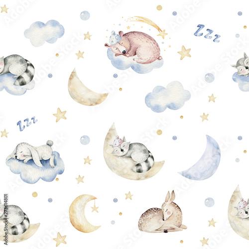 Ślicznej marzącej kreskówki zwierzęcej ręki rysującej akwareli bezszwowy wzór. Śpiąca charecher dzieci przedszkole noszą projektowanie mody, zaproszenie na chrzciny