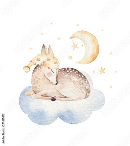 Śliczna marzy kreskówki akwareli jelenia zwierzęca ręka rysująca ilustracja. Śpiąca charecher dzieci przedszkola noszą projektowanie mody, karta zaproszenie baby shower.