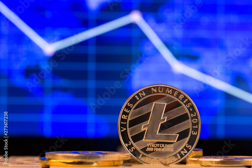 canvas print motiv - Sensay : Cryptocurrency coins - litecoin and other close up