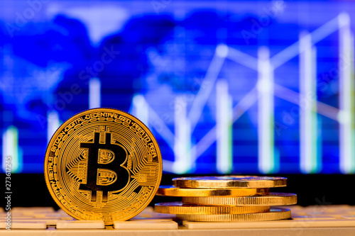 canvas print motiv - Sensay : Cryptocurrency coins - Bitcoin and other close up