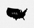 Black USA map. America map design isolated on transparent background