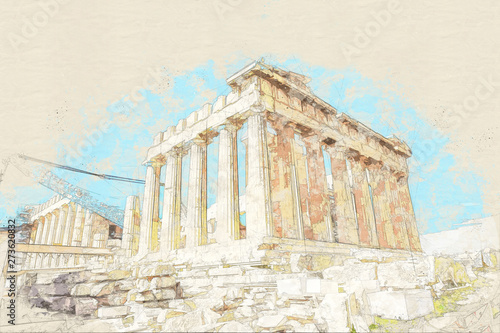 Photo Sketch of ruins of ancient temple on Acropolis hill, Athens