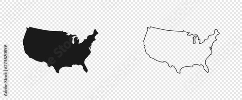 USA map. American map. United States of America map in flat and lines design