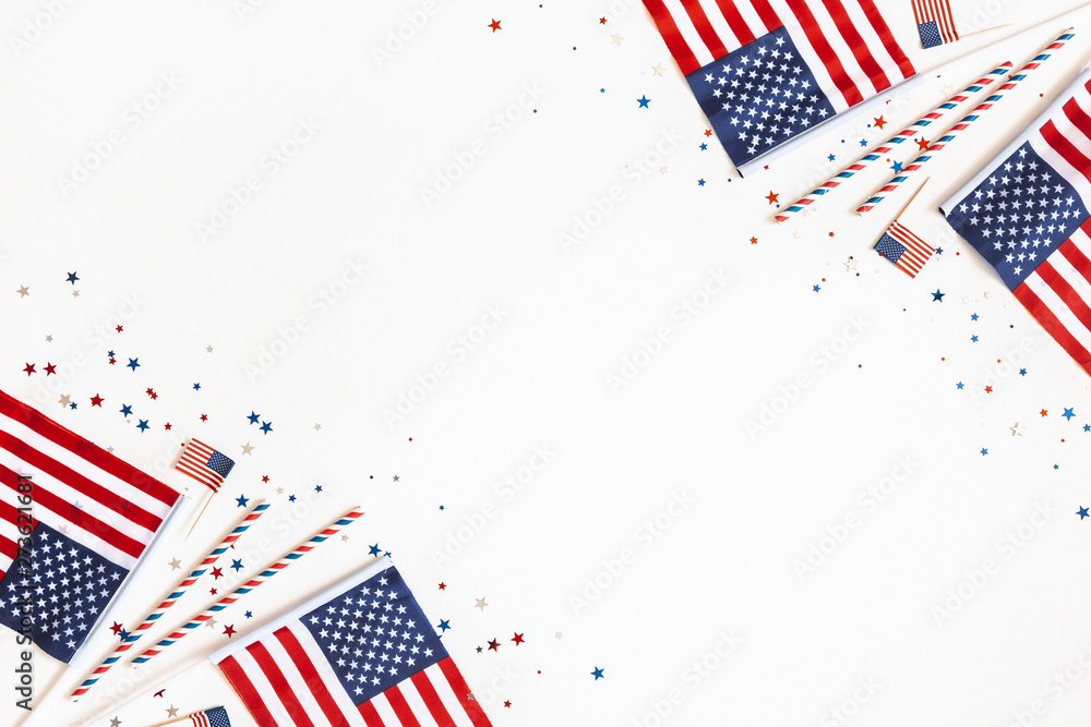 Fototapety, obrazy: 4th of July American Independence Day decorations on white background. Flat lay, top view, copy space