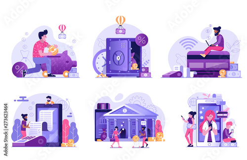 Fototapeta Online Banking and Payment Services Flat Illustrations obraz