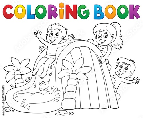 Montage in der Fensternische Für Kinder Coloring book kids on water slide 1