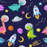 Fototapeta Dino - Dino in space seamless pattern. Cute dragon characters, dinosaur traveling galaxy with stars, planets. Kids cartoon vector background. Illustration of astronaut dragon, kids wrapping with cosmic dino