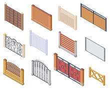 Isometric Fence. Gates And Far...