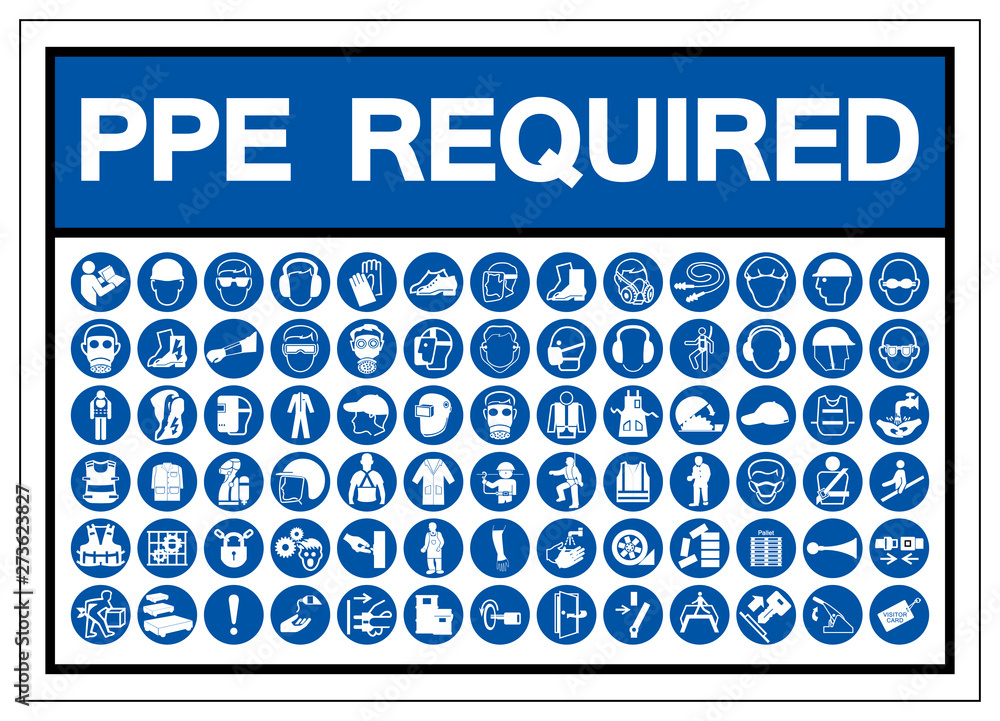 Fototapety, obrazy: PPE Required Symbol Sign, Vector Illustration, Isolated On White Background Label .EPS10