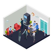 Vector Isometric Office Lobby With Security. Business People Meet In Lobby. Illustration Of Isometric Interior Office Room, Building Inside