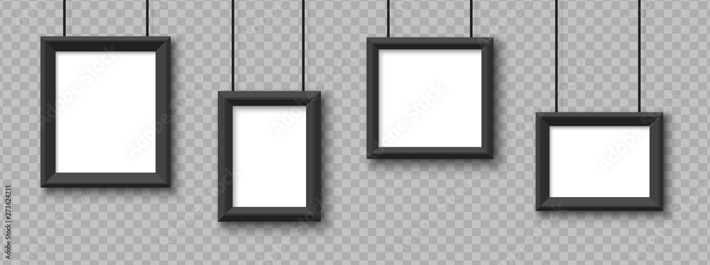 Fototapety, obrazy: Blank hanging frames. Pictures, photo frames mockup vector isolated on transparent background. Illustration of empty photo frame, gallery portfolio album