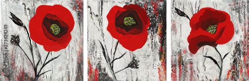 Fototapeta Collection of designer oil paintings. Decoration for the interior. Modern abstract art on canvas. Set of pictures with red poppies. obraz