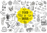 Fototapeta Londyn - Food and drink hand drawn illustration