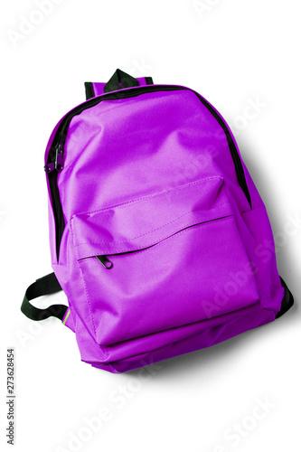 Obraz Top view of purple school backpack on white background. - fototapety do salonu