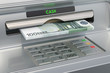 ATM machine with euro. Withdrawing euro banknotes, 3D rendering