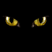 Amber Cat Eyes In Darkness. Style Low-poly