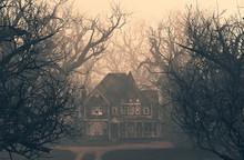 Haunted House Scene In Creepy ...