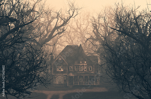 Fotografiet haunted house scene in creepy forest,3d illustration