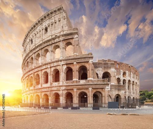 Fényképezés  Coliseum or Flavian Amphitheatre (Amphitheatrum Flavium or Colosseo), Rome, Italy