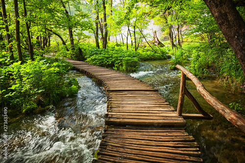 Printed kitchen splashbacks Forest river beautiful waterfalls in Plitvice Lakes National Park, Croatia