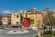 Colorful houses in old town architecture of Menton on French Riviera. Provence-Alpes-Cote d'Azur, France.