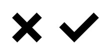 Set Of Black X And Check Mark Icons. Cross And Tick Symbols Isolated On White Background.