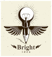 Pencil With Idea Light Bulb Co...