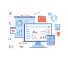 Data Analysis, Accounting, Analytics, Report, Research, Planning. Charts, Diagrams, Graphs On The Monitor Screen, Projector Screen. Vector Illustration On White Background.