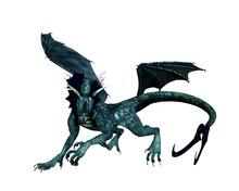Fantasy Illustration Of A Blue Dragon Prowling, 3d Digitally Rendered Illustration