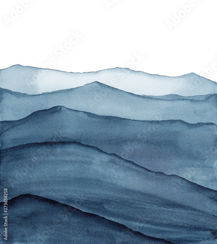 Foto auf Leinwand Weiß abstract indigo blue watercolor waves mountains on white background