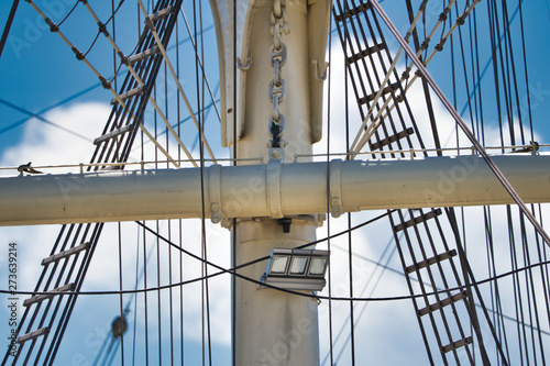 Fototapeta  Detail view of the upper masts for the rigging of a large sailing ship, zoomed i