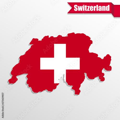 Cadres-photo bureau Pixel Switzerland map with flag inside and ribbon