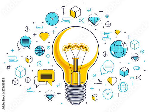 Olśniewająca żarówka i set ikony, biznesowego pomysłu kreatywnie pojęcie, handel elektroniczny alegoria, interneta biznes, rynek lub online sklep, wektorowa ilustracja.