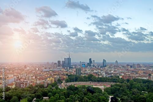 Fotobehang Milan Aerial view of Porta Nuova district in Milan