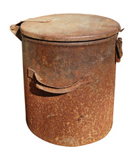 Old Vintage Rusty Metal Waste Bin With Lid Isolated