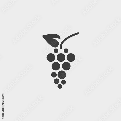 Foto  grapes icon in a flat design in black color