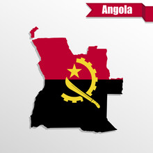Angola Map With Flag Inside An...