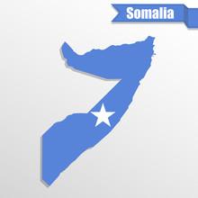 Somalia Map With Flag Inside A...
