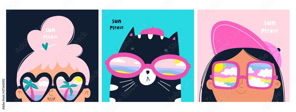 Niedz prosze. Zestaw kart z kotem i dziewczynkami w dużych okularach przeciwsłonecznych. Różne odbicia w okularach: pochmurne niebo, dłonie i ocean. Ręcznie rysowane modne ilustracje wektorowe. Styl kreskówkowy. Płaska konstrukcja