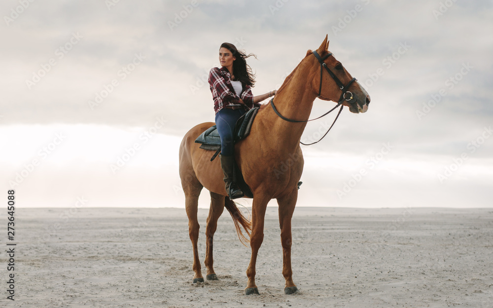 Fototapety, obrazy: Woman on her horse at the beach