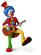 canvas print picture - Fun clown - 3D Illustration