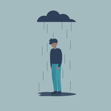 Sad Male Character Standing Under The Rain. Overcast Weather. Emotions. Solitude Concept. Flat Vector Illustration Design.
