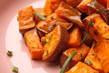 Tasty Cooked Sweet Potato On Plate, Closeup