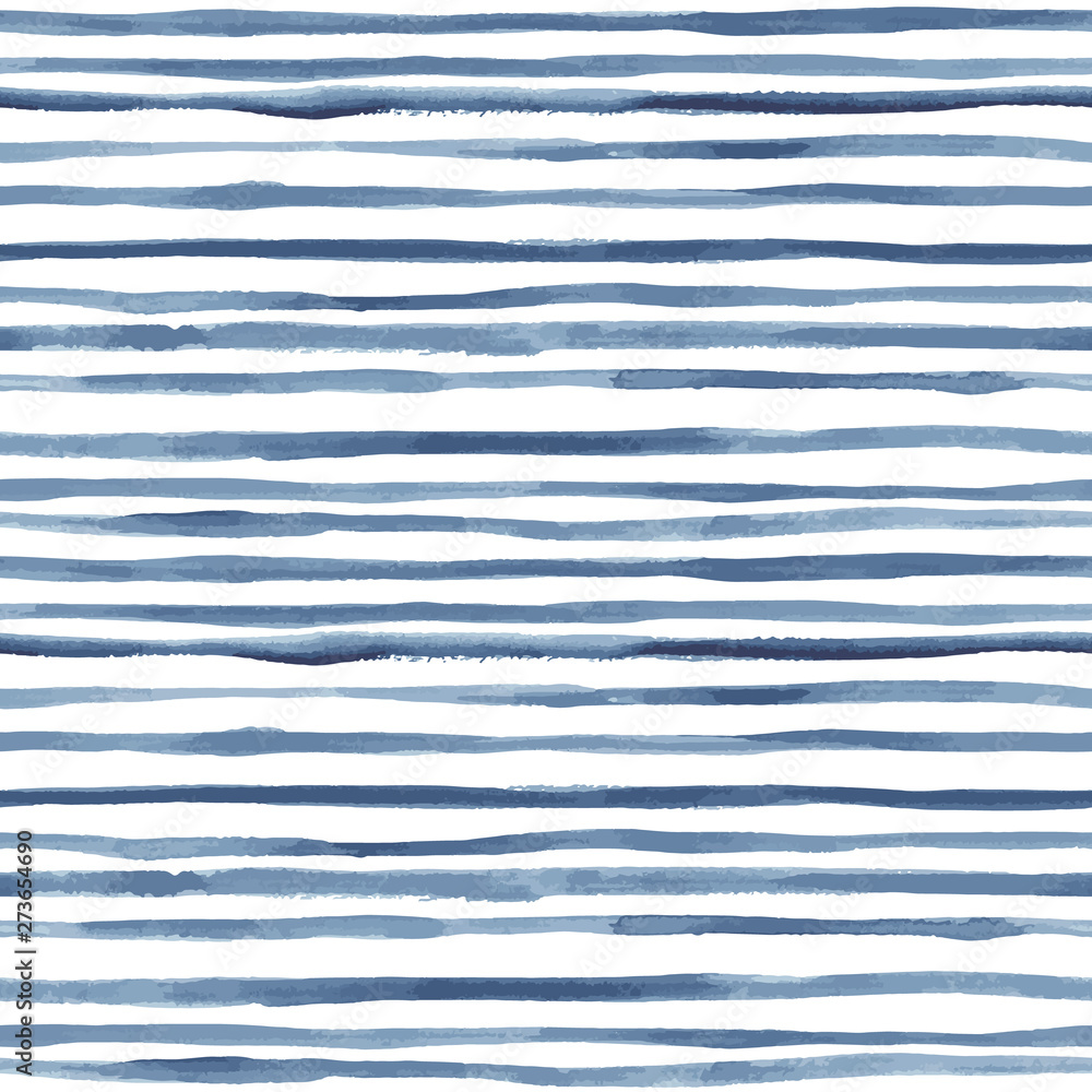 Fototapeta Hand painted striped indigo background. Seamless vector pattern