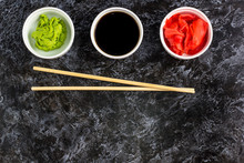 Set For Sushi Soy Sauce Ginger Wasabi With Chopstick On Stone Background