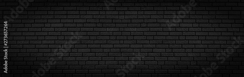Photo  Panoramic texture of black brick wall, brickwork background for design or backdr