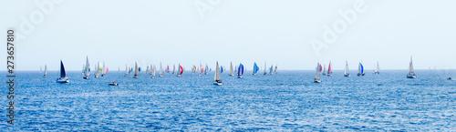 Fotografie, Obraz  Panorama of Sailing yachts during regatta  Brindisi Corfu 2019